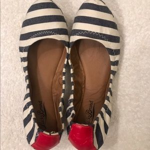Brand New Lucky Brand Navy Striped Flat Shoes.